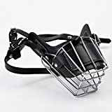 Dog Muzzle - Metal Wire Basket Muzzles for Dog - Best to Prevent Biting - Chewing and Barking - Allows Drinking and Panting - Used with Collar (M)