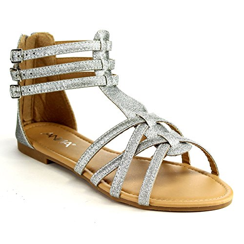 Anna Mavis-7 Women Buckle Zip Ankle Cuff Flat Gladiator Sandal Run Half Size Big