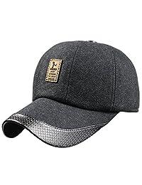 Men's Winter Warm Wool Woolen Tweed Peaked Baseball Cap Hat With Earmuffs Warmer