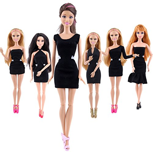 Qiyun Fashion Classic Cute Princess Short Evening Party Dress Black for Barbie Dolls