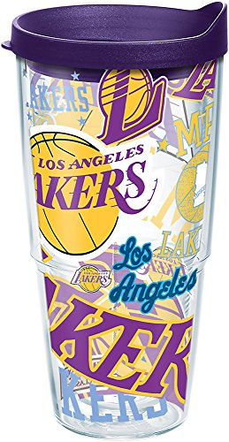 Tervis 1264300 NBA Los Angeles Lakers All Over Tumbler with Wrap and Royal Purple Lid 24oz, Clear by Tervis