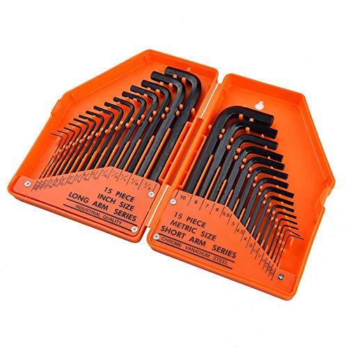 30PCS Cl/é hexagonale industrielle m/étrique//pouce 15PCS 0.028-3//8 /à bras long s/érie 15PCS 0.7mm-10mm s/érie courte qualit/é industrielle en acier au chrome vanadium type L cl/és avec bo/îtier durable