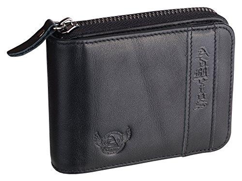 Mens Wallets Leather Zipper Wallet for Men Bifold RFID Multi Card Holder Purse black258-2