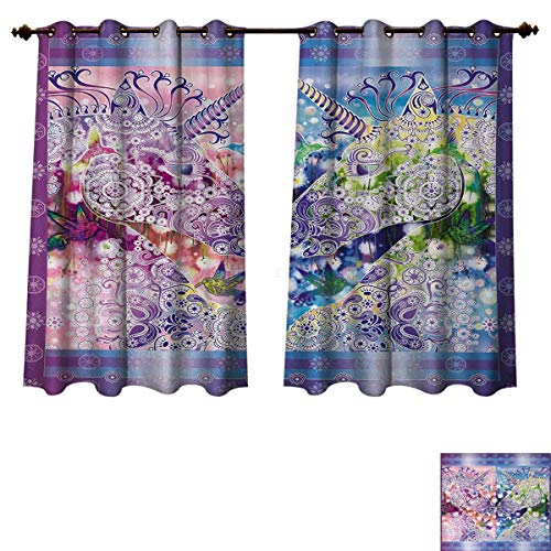 Anzhouqux Unicorn Blackout Thermal Curtain Panel Two Myhtical Horses Facing Each Other Floral Ornament Framework Birds Spring Nature Window Curtain Fabric Multicolor W63 x L72 inch