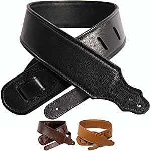 so there padded leather guitar strap genuine leather strap best for guitar or bass. Black Bedroom Furniture Sets. Home Design Ideas