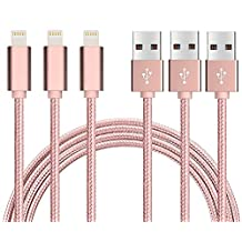 [3ft x 3 Pack] USB 3.0 Cable Juvnile Nylon Braided USB A to USB C Cable, Lightning Compatible Cable, High Durability - Apple MFi Certified - Rose Gold (3 Pack x 3ft)