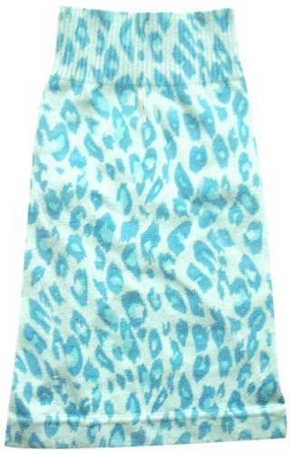 The Dog Squad Leopard Mock Neck Pet Sweater, Small, Turquoise by The Dog Squad