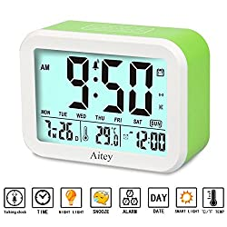 Digital Alarm Clock, Aitey Talking Clock with 3 alarms, Optional Weekday Alarm, Intelligent Noctilucent & Snooze Function, Month Date & Temperature Display for Adults, Kids & Teens (Green)