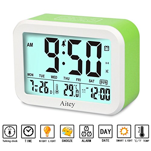 Digital Alarm Clock, Aitey Talking Clock with 3 alarms, Optional Weekday Alarm, Intelligent Noctilucent & Snooze Function, Month Date & Temperature Display for Adults, Kids & Teens (Green) by Aitey (Image #9)