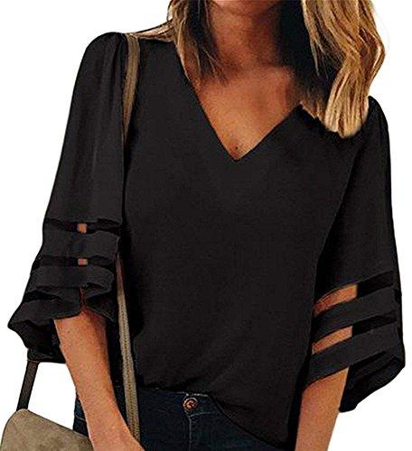 Manches Chemises Lache Patchwork Mode Mousseline Femmes lgante V de Tops Femme Maille Flare Soie Noir Neck Blouses en Casual xnvx6qPwz