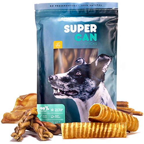 SUPER CAN BULLYSTICKS Happy Pack for Dogs - All Natural Treats & Chews Variety Pack : Bully Sticks, Pig Ears, Beef Tendons, Beef Tracheas and Gullet Sticks (6