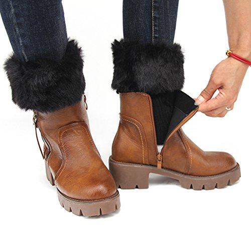 FAYBOX Women Winter Faux Fur Boot Cuff Knitting Leg Warmers Short BLK -