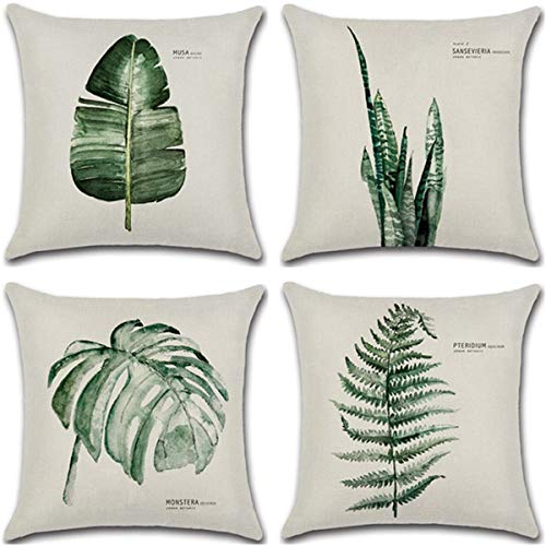 WOLUNWO Throw Pillow Covers 18 x 18 Square Set of 4 Green Plant Leaf Series Couch Decorative Pillow Cases Cotton Linen for Car Sofa Bedroom and Home (Leaf)