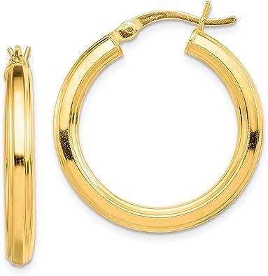 925 Sterling Silver Gold-Tone Polished Round 3mm Hinged Hoop Hoop Earrings