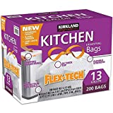 Kirkland Signature 50787 Flex-Tech 13 Gallon Kitchen Trash Bags,White, 200 Count