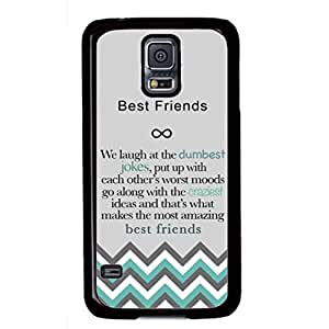 Deal Market LLC - Best Friends Quote Chevron Infinity Rubber Case for Samsung S5 Includes Screen Protector