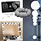 Swanico's Hollywood Vanity Lighted Makeup Mirror Light Kit | 12 LED Bathroom Vanity Light Bulb Fixture Strip Set for Makeup Foundation Lights w/Dimmer (No Mirror)