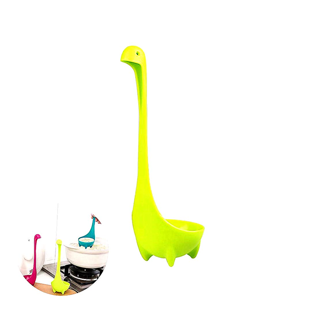 Beito Soup Spoon Creative Nessie Soup Ladle Toughened Food Grade Safe Loch Ness Monster Stand Upright Kitchen Utensil(Green)