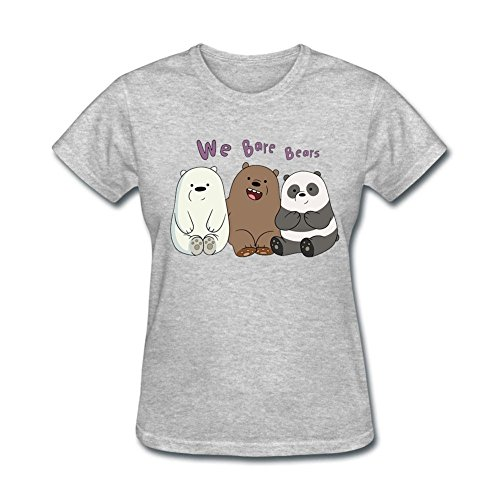 Tee Center We Bare Bears T Shirt Women Short-sleeve Grey XS