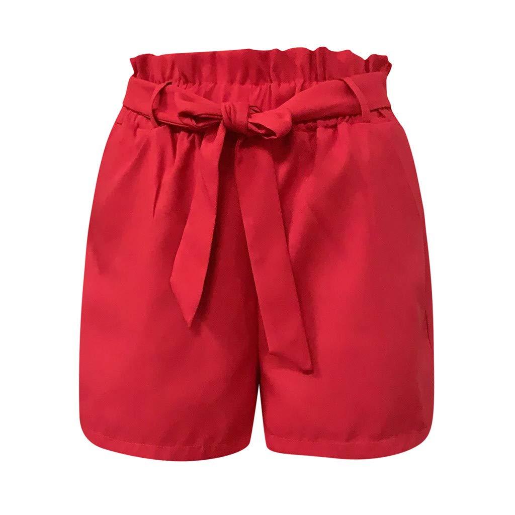 ABCone Pantaloncini Donna Elegant Shorts Cotone Pantaloni Donna Corti Estate Beach Shorts Pantaloni Felpa Donna Moda Donna Estate Sport Pantaloncini da Spiaggia Casual Elastico Vita