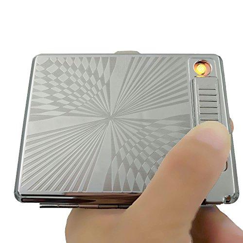 KAKAKA Metal Full Pack 20 Regular Cigarettes Case/Box with Lighter USB Rechargeable, Flameless, Windproof
