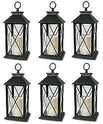 Black Decorative Lantern with Cross Bar Design