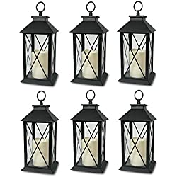 "Decorative Black Lantern - LED Flickering Flameless Pillar Candle with 5 Hour Timer Included - Indoor/Outdoor Lantern - 13"" - Pack of 6"