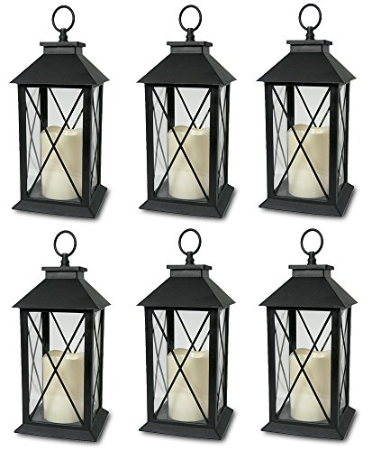 Decorative Black Lantern - LED Flickering Flameless Pillar Candle - Indoor/Outdoor Lantern - 13