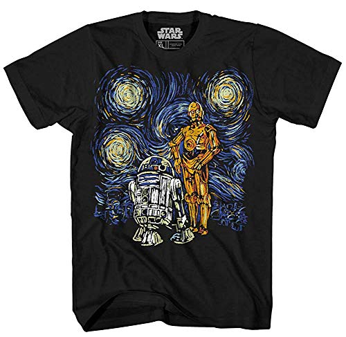 Star Wars C-3PO R2-D2 C3PO R2D2 Funny Van Gogh Starry Night Droids Painting Force Awakens Last Jedi Adult Men's Graphic Tee T-Shirt (2XL,Black)