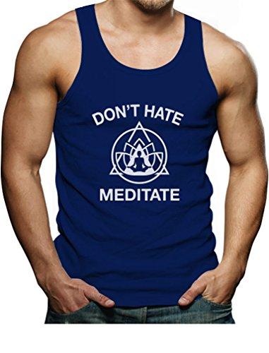 - Tstars - Don't Hate Meditate Funny Zen Yoga Peace Yogi Men's Tank Top Singlet Medium Blue