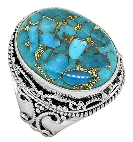 YoTreasure Turquoise Gemstone Solid 925 Sterling Silver Designer Ring Jewelry ()