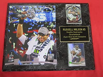 Russell Wilson Seattle Seahawks Super Bowl XLVIII 2 Card Collector Plaque w/8x10 TROPHY Photo