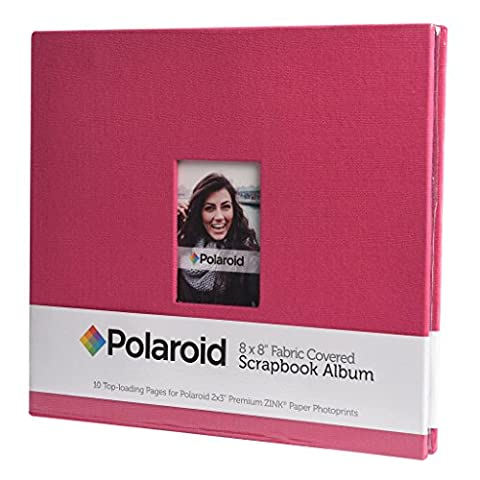 "Polaroid 8""x8"" Cloth Covered Scrapbook Photo Album w/ Front Picture Window for Zink 2x3 Photo Paper Projects (Snap, Zip, Z2300, POP) - Red - Snap Pagina Protezioni"