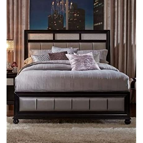 Coaster Barzini Collection 200891KE King Size Bed With Metallic Leatherette Upholstery Bun Feet Asian Hardwood And Okume Veneer Construction In Black