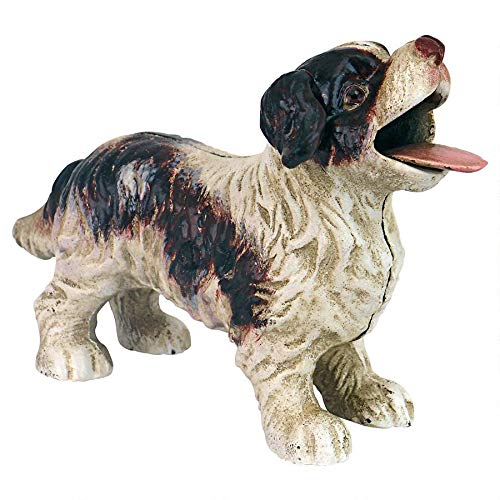 Design Toscano Cavalier King Charles Spaniel Dog Bank, 8 Inch, Brown and White