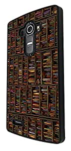 838 - Book Shelves Library Books Design For LG G4 Fashion Trend CASE Back COVER Plastic&Thin Metal