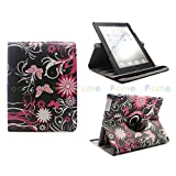 FOME 360 Degrees Rotating Multi-function Protective PU Leather Flip Case Cover For iPad 2 3 4 Black/Butterfly/Flower+ A FOME Gift