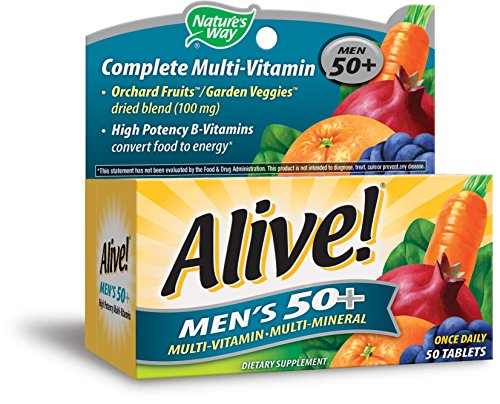 Nature's Way Alive!® Men's 50+ Energy Multivitamin Tablets, Fruit and Veggie Blend (100mg per serving), 50 Tablets (Multivitamins Senior 100 Tab)