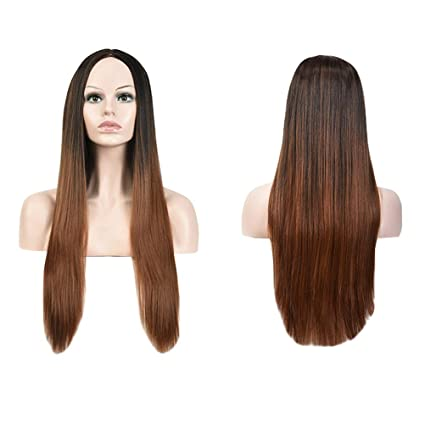 Yemocile donna ombre naturale come veri capelli sintetici Cosplay diritta  lunga parrucca 1d81eefbb777