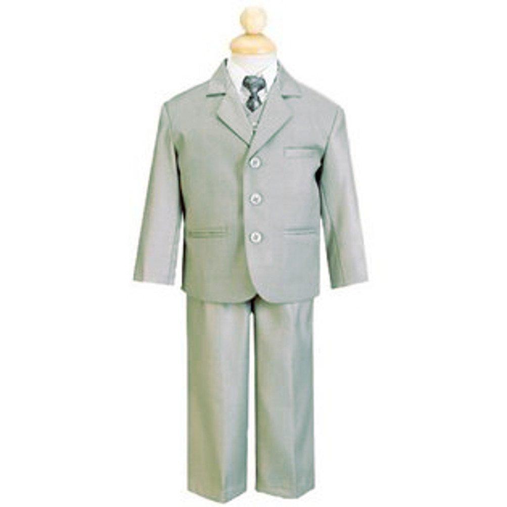 d10b616857 Amazon.com: Boy's 5 Piece Taupe Heather Suit with Shirt Vest and Tie ...