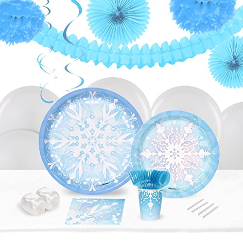 BirthdayExpress Snowflake Winter Wonderland Holiday Party Supplies - Tableware and Decoration Pack (16) -