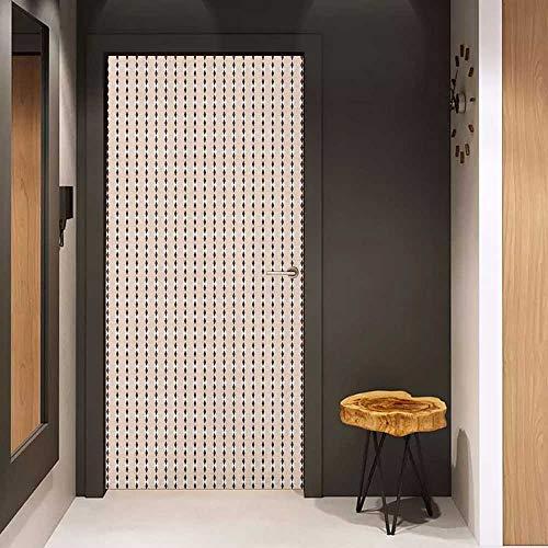 Onefzc Door Wallpaper Murals Geometric Peach Colored Diamond Shapes on Cream Background Simplistic Diagonal Tile Print WallStickers W32 x H80 Peach Cream