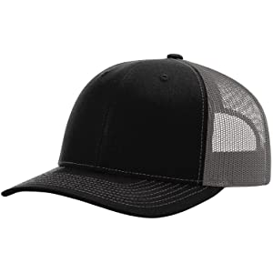Amazon.com  Richardson Black 112 Mesh Back Trucker Cap Snapback Hat ... 30ab5f4b287