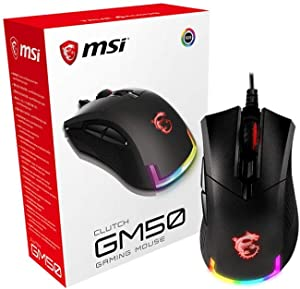 MSI CLUTCHGM50 Gaming USB RGB Adjustable up to 7200 DPI 1ms 6 Buttons Desktop Laptop Gaming Grade Optical Mouse (Clutch GM50)