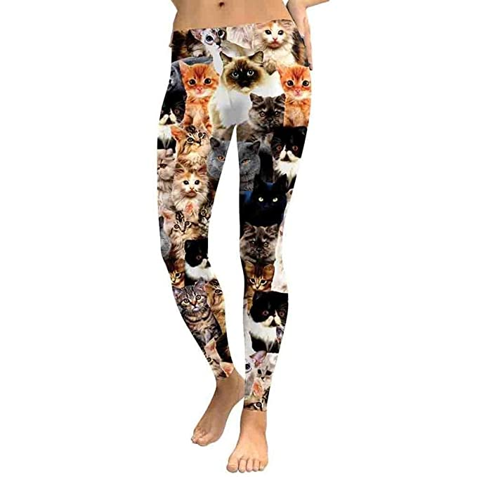 HaiDean Gatos De Mujer Impresión Pantalones Entrenamiento ...