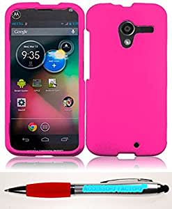 Accessory Factory(TM) Bundle (the item, 2in1 Stylus Point Pen) For Motorola Moto X Rubberized Cover Case - Hot Pink