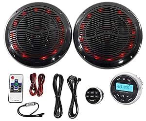 "Hot Tub Audio System w/ Bluetooth Gauge Hole Receiver+2) 6.5"" Black LED Speakers"