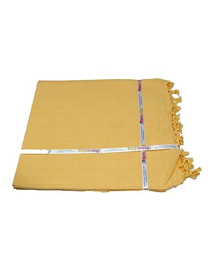 NK Enterprises Cotton Handloom Dull Shawl (ka010101,Yellow)