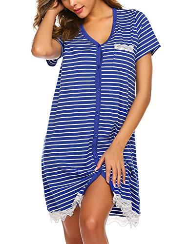 Ekouaer Women's Nightgown Short Sleeve Sleepwear Scoop Neck Sleep Shirt Nightshirt