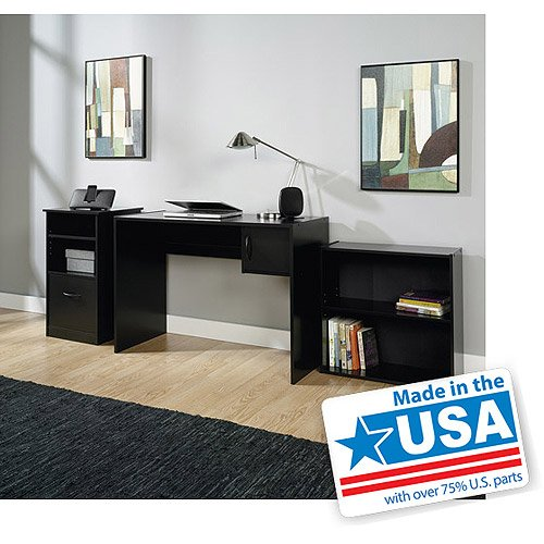 3 Piece Office Cabinet - 3-Piece Home Office Bundle Bookcase, Desk and Storage Cabinet, Black Finish